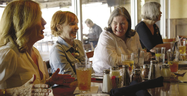 Debbie Douglas, Fran Patterson and Paula Davis still enjoy themselves each week at Picasso's after 14 years of dining together on Wednesdays. Photo by Danny Fulgencio