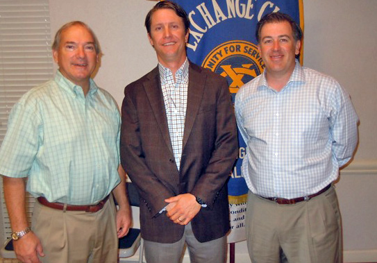 Stephen Holley, a LHHS grad and co-founder of Carry the Load, flanked by LH Exchange Club members Jon Alspaw, Justin Bono, addressed the Exchange Club a few weeks ago about Carry the Load.