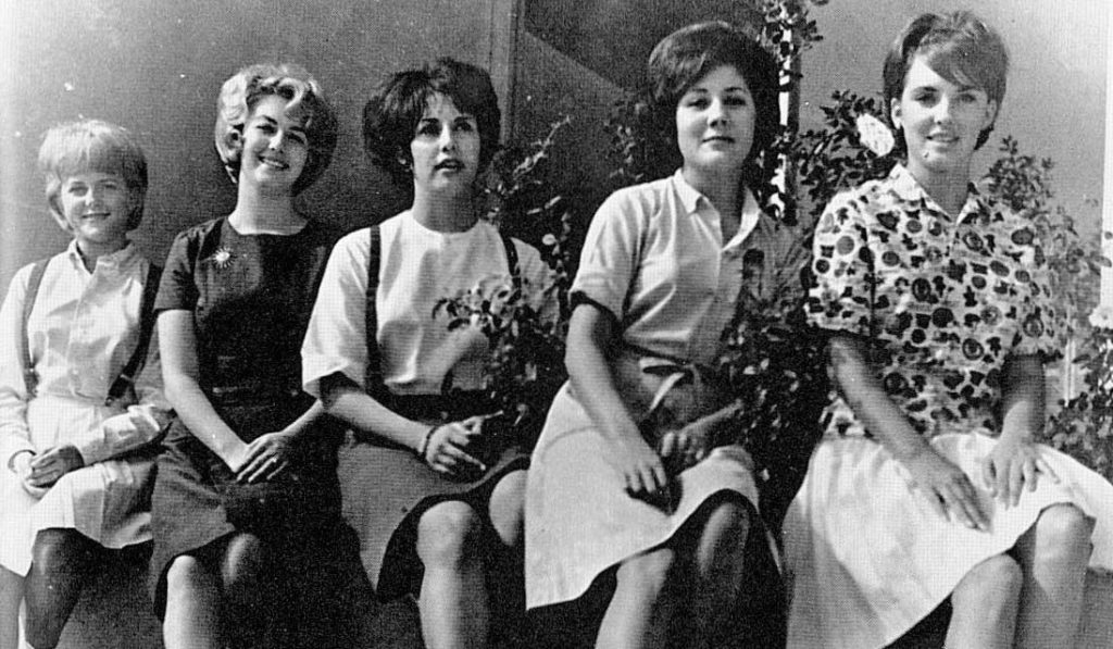 1964 Homecoming-Court: Pam Wofford, Karen Powell, Sue Stallings, Sherry Grant and Jean Ann Phillips