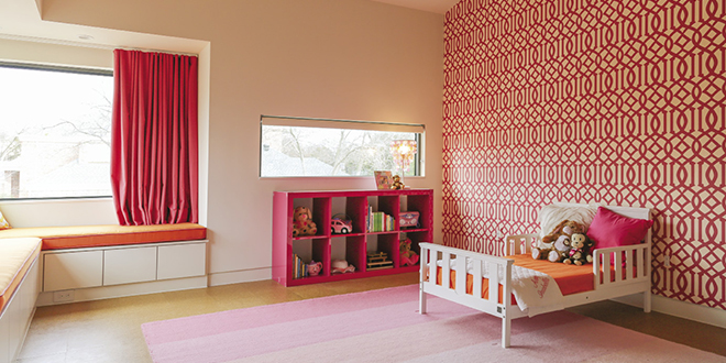 Designer Katie Allen blended oranges and pinks for a little girl's room: Photo by Jeanine Michna-Bales