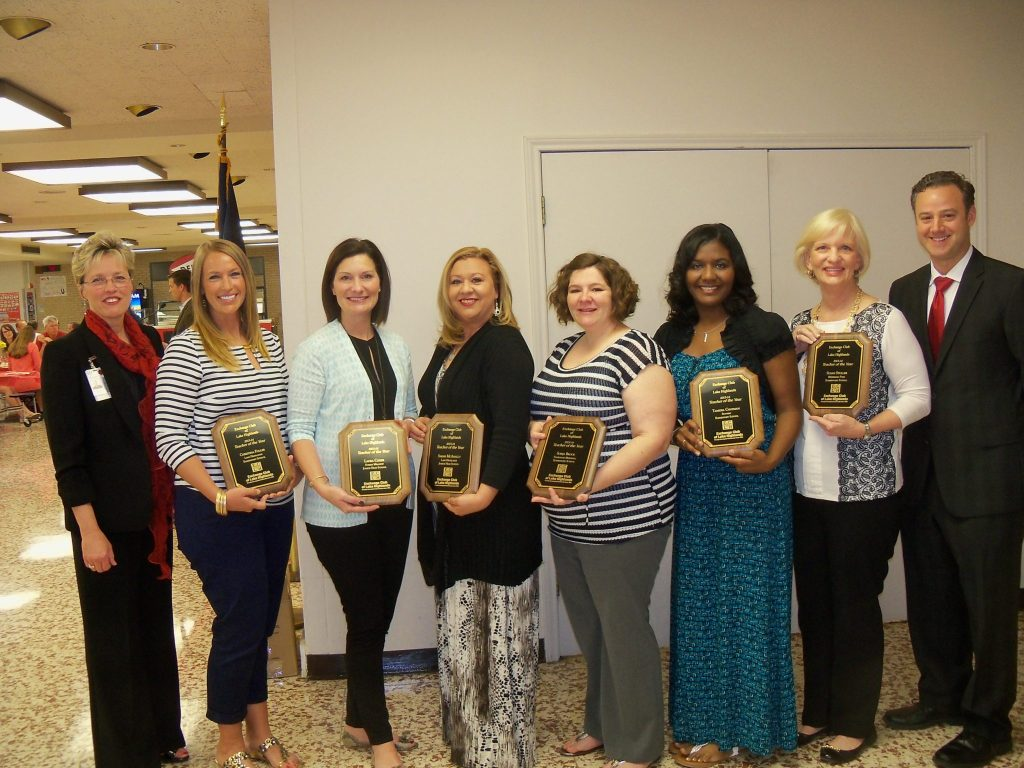 Superintendent Kay Waggoner, Teachers of the Year Christina Fuller, Laura Coker, Sarah McAnally, Sonja Brock, Tamesia Chatman, Susan Stuller, Exchange Club's Adam Meierhoffer