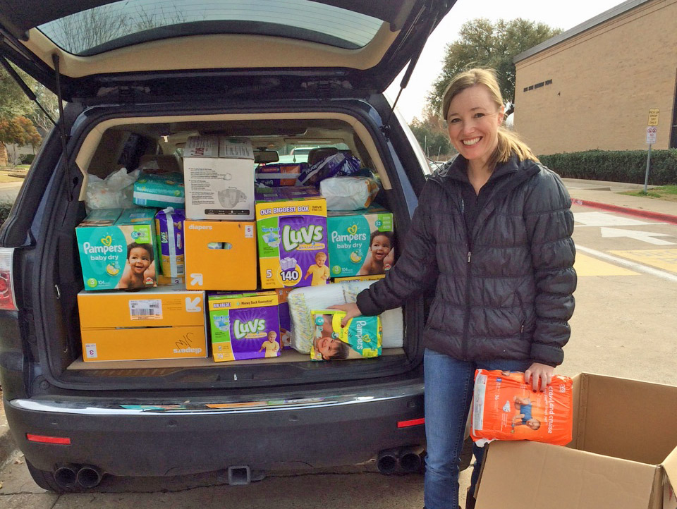 Erin Basden collect diapers for needy families in LH