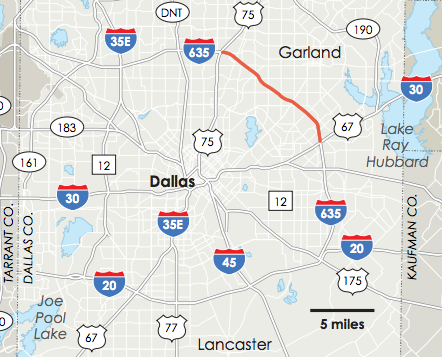 The map shows the section of I-635 that will be impacted by the upgrades.