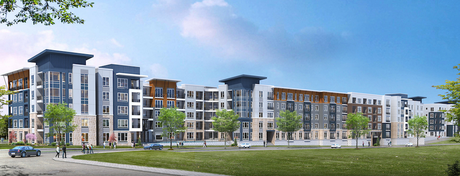 Rendering from the Richman Group on the proposed five-story, 270-unit apartment complex coming to Northwest Highway.