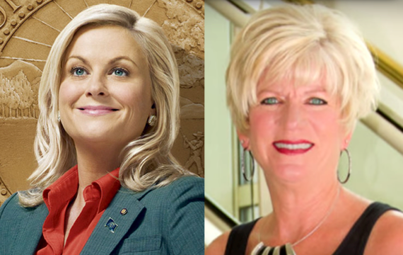 A thing Leslie Knope (fictional Parks and Rec character, left) doesn't have on retired Parks and Rec staffer Jill Beam (other than being real)? A Ms. Texas title.