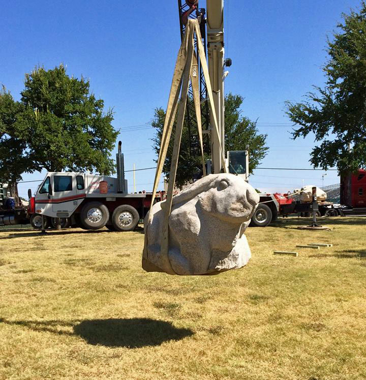 The new rabbit play sculpture is installed at the LH North Recreation Center