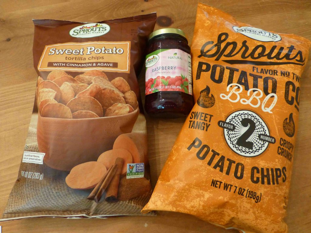Sprouts label sweet potato chips, BBQ chips and raspberry jam