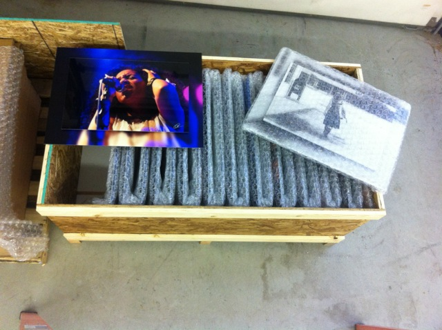 """This 300 lb. crate holds """"double float mount"""" plexiglass prints of Karen's work, ready to ship to Dallas."""