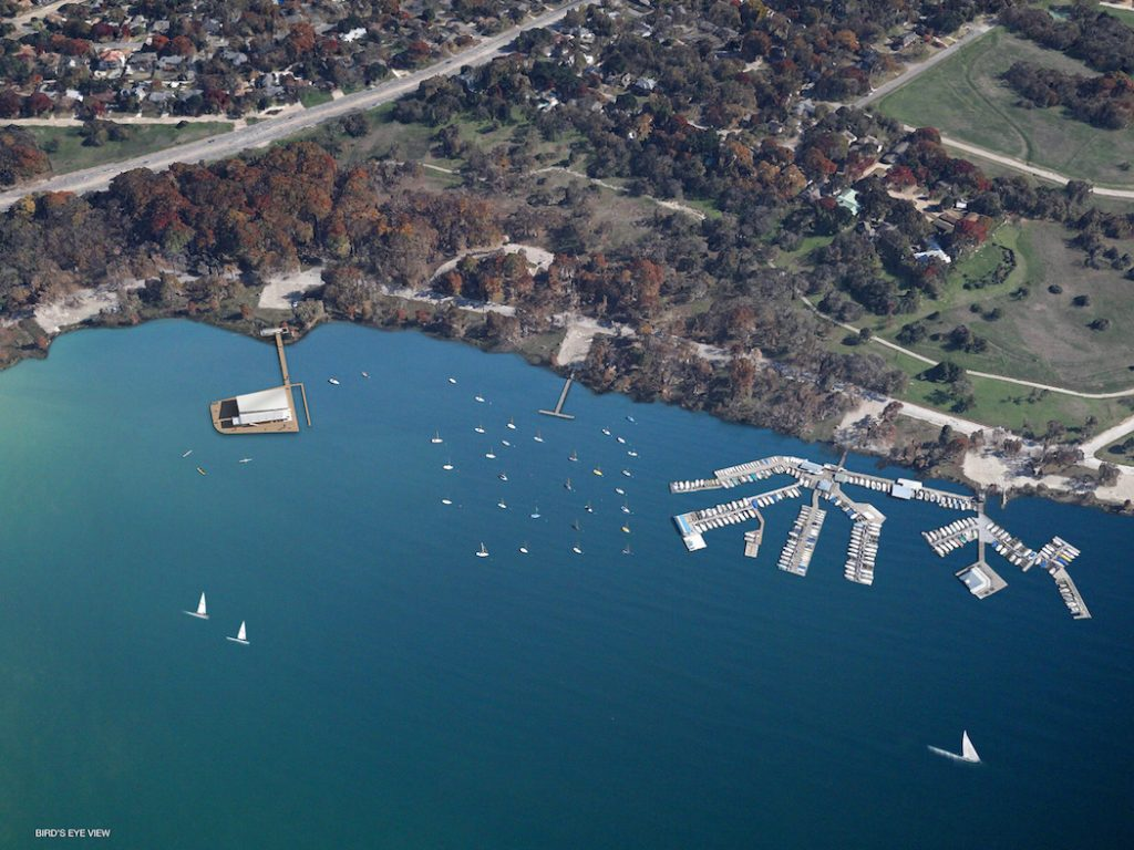 An aerial rendering of the White Rock Lake Rowhouse, just north of the Corinthian Sailing Club