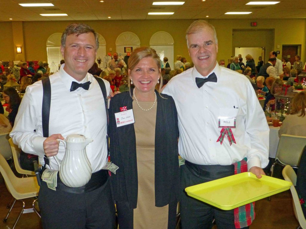LHWL President Lisa Sides with luncheon volunteer waiters LHHS Principal Frank Miller and LHFC Principal Bill Gallo