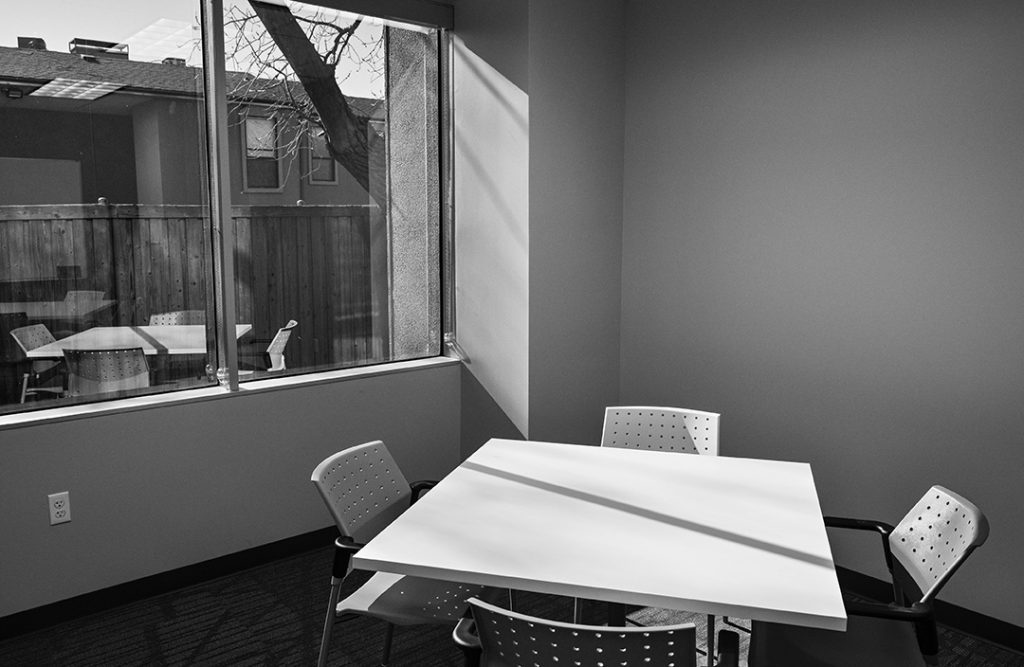 Refugees and visiting ministries can use collaborative rooms to conduct meetings.