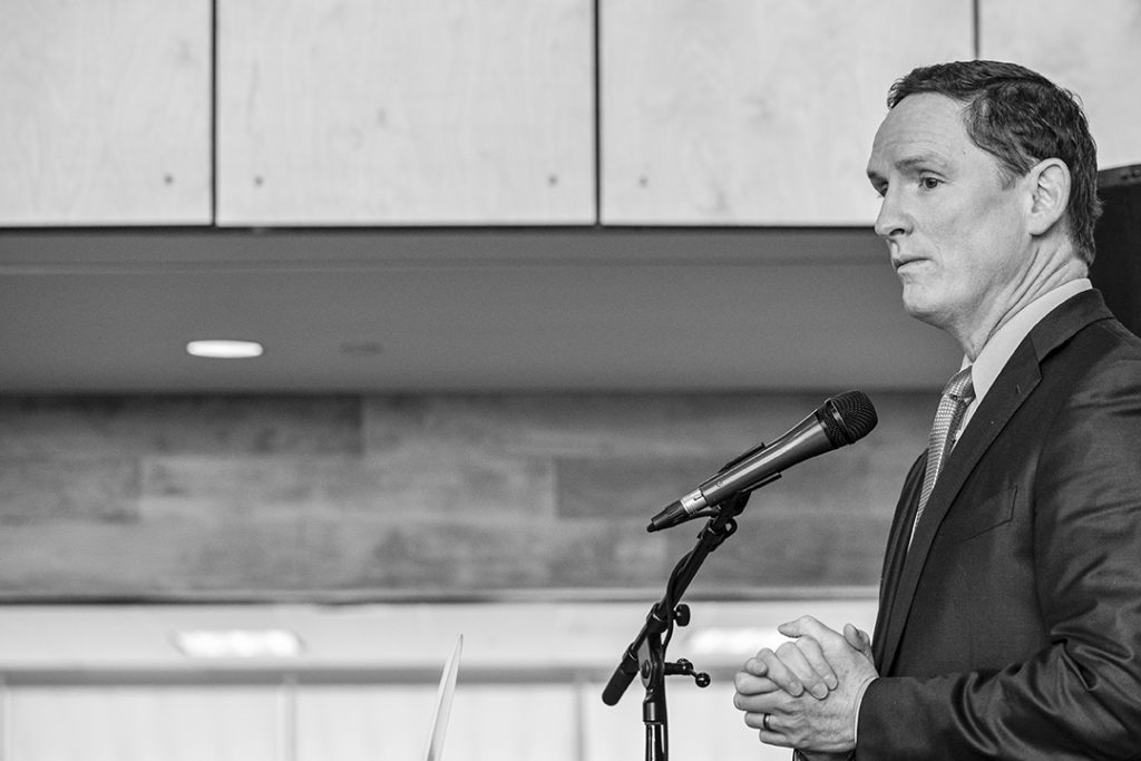 Speakers in attendance included Dallas County Judge Clay Jenkins (pictured) and Dallas Mayor Mike Rawlings.
