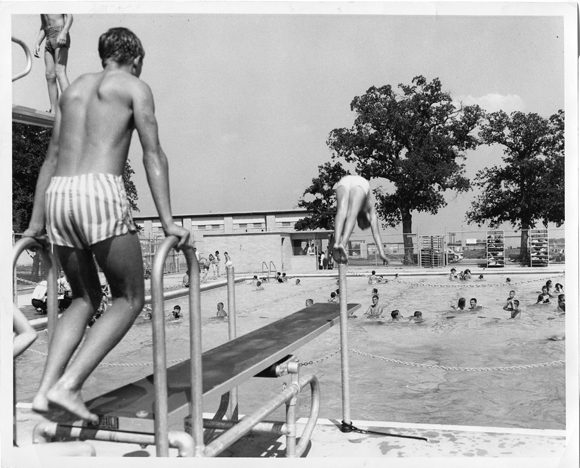 Swimmers take advantage of public pools in the 1950s. (Courtesy of the Dallas Municipal Archives)