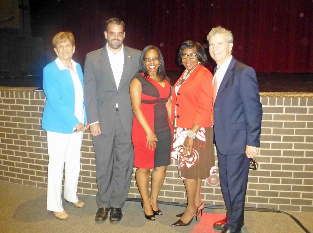 State Rep. Linda Koop, Councilmember Adam McGough, Councilmember Tiffinni A. Young, Councilmember Carolyn King Arnold and City Manager A.C. Gonzales