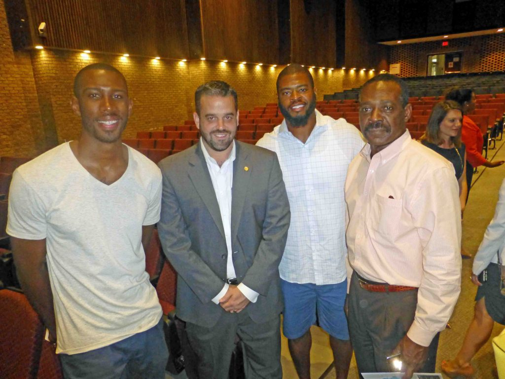 Councilman McGough with NFL alum and LHHS grad Wade Smith (center) and friends