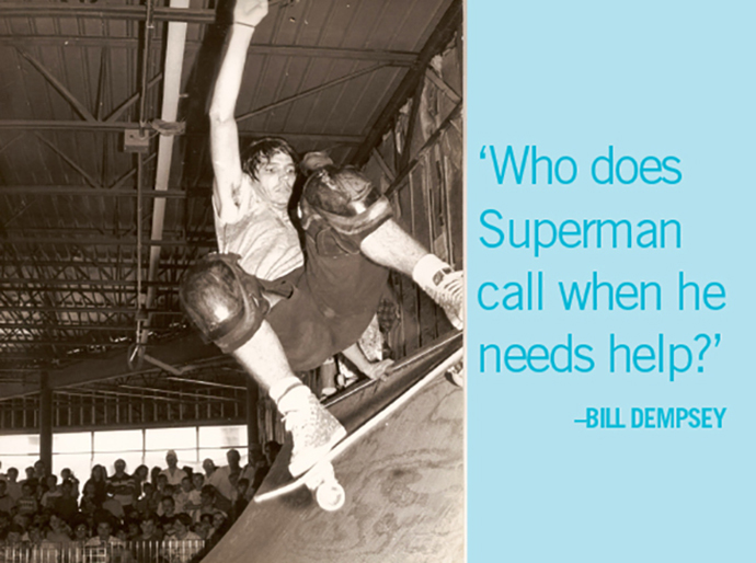 Jeff Philips skate board photo with quote 'Who does Superman call when he needs help?'