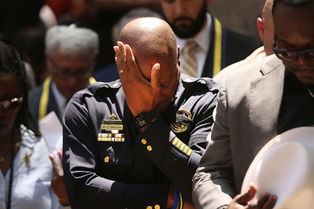 Dallas Police Chief David Brown pauses at a prayer vigil following the deaths of five police officers last night during a Black Live Matter march on July 8, 2016 in Dallas, Texas. (Photo by Spencer Platt/Getty Images)