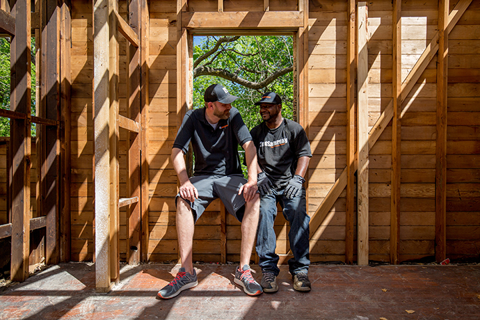 Todd Fields and Ahommed Jones are friends who remodel homes together. (Photo by Rasy Ran)