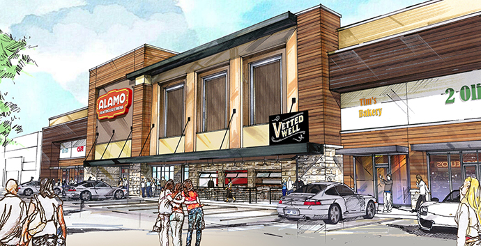 An artist rendering of the Alamo Drafthouse location.
