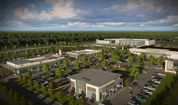 Top, an artist rendering of the Alamo Drafthouse location, and, above, a vision of the Lake Highlands Town Center.