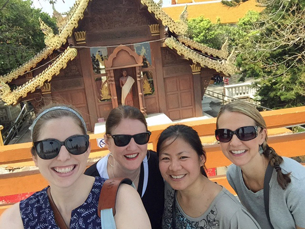 educators from Wallace Elementary School in Lake Highlands — teacher Ashley Nick, principal Debbie Yarger, ESL teacher aide Juna Saw and teacher Diane Royer — visited a large refugee camp in Mae La, Thailand, near the Burma/Myanmar border, where Saw grew up.