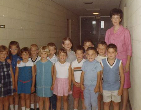 Betty Woodring with her first first grade class, 1967