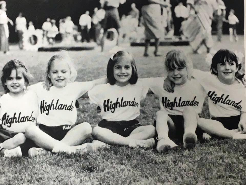 Highlander Field Day, circa 1989: Christy Cox, Meghan Richardson Riney, Katy Kibler, Kelly Cantrell and Brooke Fannin
