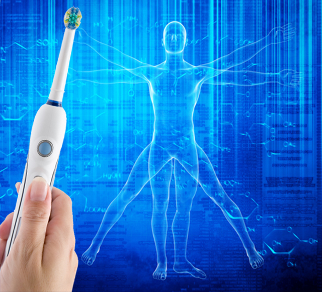 Vitruvian Man image on a blue background with an electric toothbrush. Dental health is an indicator of overall health. Getty image