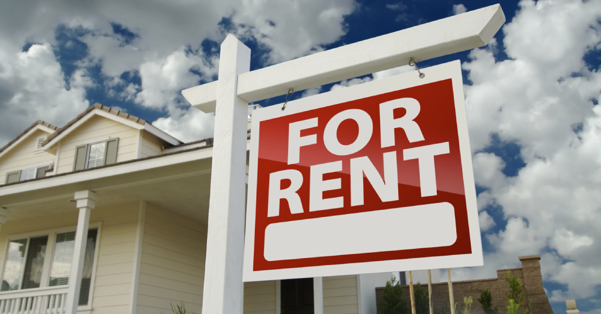 For Rent sign in front of a house